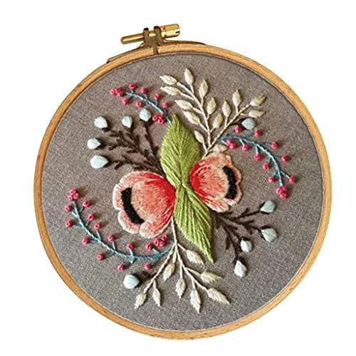 FLAMEER Kreuzstich Stickpackung Stickbild Stickerei Stickvorlage Stickrahmen vorgedruckt - Blumen Muster, 30 x 30 cm -