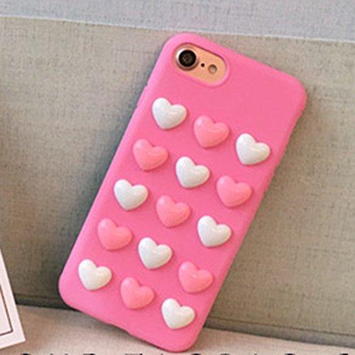 3D Liebes-Süßigkeit-volle Abdeckung Schützende rückseitige Abdeckung Weiche Kasten für iPhone 7 by diebelleu ( Color : Black ) Pink