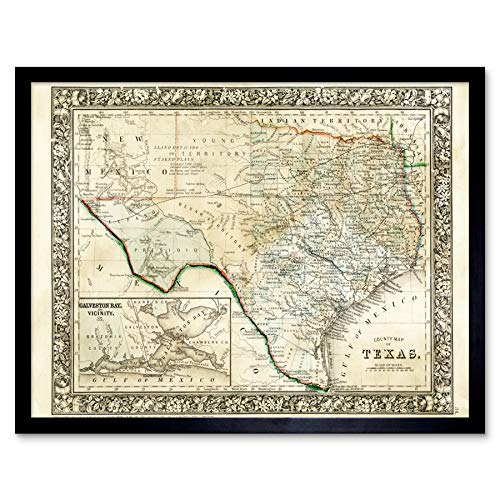 Mitchell 1860 Map Texas County USA State Art Print Framed Poster Wall Decor 12x16 inch Karte Vereinigte Staaten von Amerika Wand Deko -