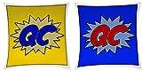 CQ Initiale Nom Comic Art Style Double face coloré en faux daim Luxueux coussin-Trois tailles disponibles, Multicolore, 12x12 inches