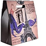 Eiffet Tower Big Multipurpose Magazine Holder/Picnic Bag/Storage Bag/Organizer/Basket for Kitchen, Utility, Cosmetics, Living Room, Kids Room for Toys/Size:LBH-14x7x15.5