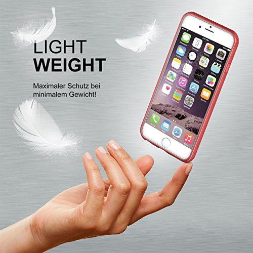iPhone 7/8 Hülle Silikon Dunkel-Rot [OneFlow Brushed Back-Cover] TPU Schutzhülle Ultra-Slim Handyhülle für iPhone 7/8 Case Dünn Silikonhülle Rückseite Tasche CORAL-RED
