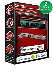 Volkswagen Lupo Autoradio CD MP3 radio play Clarion, iPod, iPhone, Android