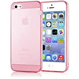 NALIA Handyhülle für iPhone 5 5S SE, Ultra-Slim Silikon Case Cover Schutzhülle Dünn Durchsichtig, Handy-Tasche Backcover Transparent Bumper für Apple iPhone SE 5S 5 - Pink Transparent