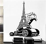 Etiqueta de la pared Etiqueta de Arte Mural Decoración Del Hogar Cita París Torre Eiffel Francia Lujo Coche Automóvil Sexy Girl