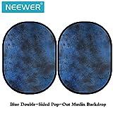 Neewer blauer Doppelseitiger hervorspringender Muslin Hintergrund - 78.7 x 59 Zoll / 200 x 150 Zentimeter Runde zusammenklappbaren Hintergrund für Foto Studio Video-Fotografie mit Tragetasche
