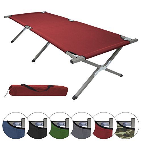 BB Sport Feldbett190 x 64 x 41 cm stabiles Campingbett mit Stahlrohr verstärkt bis 120 kg belastbar, Farbe:rot