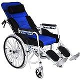 ACEDA Faltbarer Rollstuhl Mit Rutschfest Armlehnen,Leichter Dicker Stahl,Transportrollstuhl Reiserollstuhl,Sitzbreite 45Cm,Verstellbare Rückenlehne,Fußpedal Höhenverstellbar,Blue