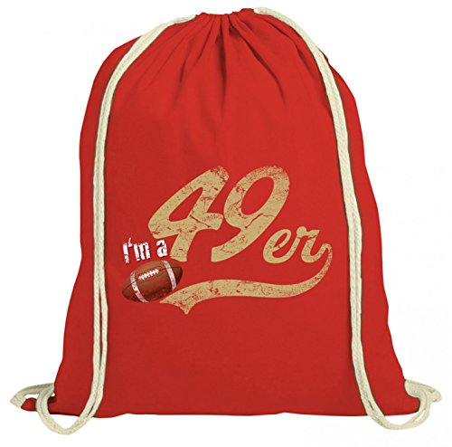 49er #1 Premium Turnbeutel   Football   Play Offs   USA   Gymbag, Farbe:Rot (Gymbeutel);Größe:37cm x 46 cm ()