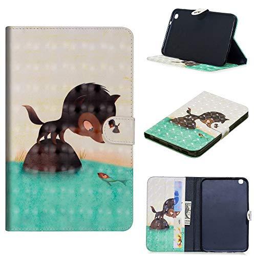 JARNING Tasche für Samsung Galaxy Tab 3 8.0 inch SM-T310 T311 T315 Hülle Leder Klappbar Schutzhülle Standfunktion Klapphülle E-Reader Tablet Flip Case Leather Cover (Fuchs isst Fisch) -