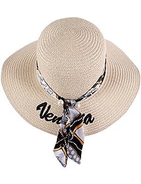 iShine Mujer Verano Casual Bordado Sombrero de Playa Sombrero de Paja del Borde Grande Ancho Cap