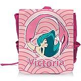 Kinder-Rucksack mit Namen Victoria und schönem Meerjungfrau-Motiv in Rosa für Mädchen