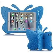 UCMDA - Carcasa infantil para iPad Mini, bonito diseño en forma de mariposa, a prueba de golpes, con función atril, compatible con tablet iPad Mini 1 / 2 / 3 / 4 de Apple (de 7,9 pulgadas), en rosa y rojo azul iPad 9.7 2017/iPad Pro 9.7/iPad Air 2