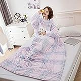 Y56 120 x 150cm TV-Decke Frauen Winter Lazy Quilt with Sleeves Steppdecke Decke mit Ärmeln Steppdecke Warm Thickened Washed Quilt Blanket Decke Schlafsack Faul Kuscheldecke Geschenk (G)