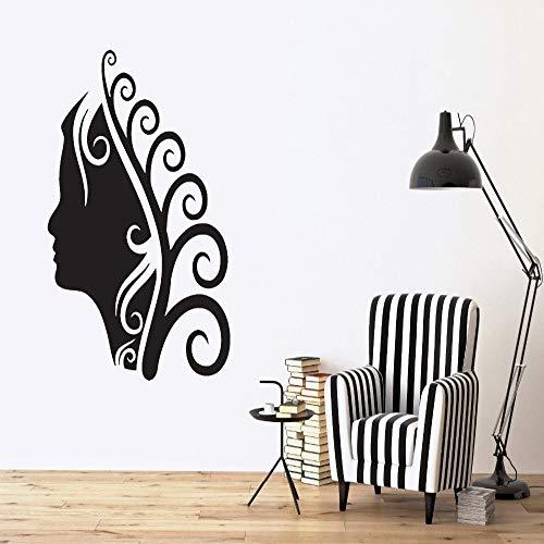 jiushizq Salone di Alta qualità Spa Hairstyle Wall Sticker Trucco Riccioli Decorazione della casa della Parete Murale Vinile Adesivo per la Decorazione della Stanza Y Rosso 85x60cm