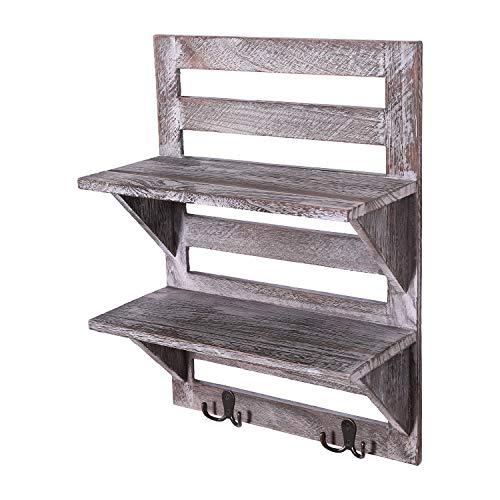 Comfify Rustikales Wandregal - Landhausdekor für Küche oder Bad - Vintage Wandregal mit zwei doppelten Eisenhaken & 2-stöckigem Regal - Dekorativer Wandregal-Organizer - Antikweiß