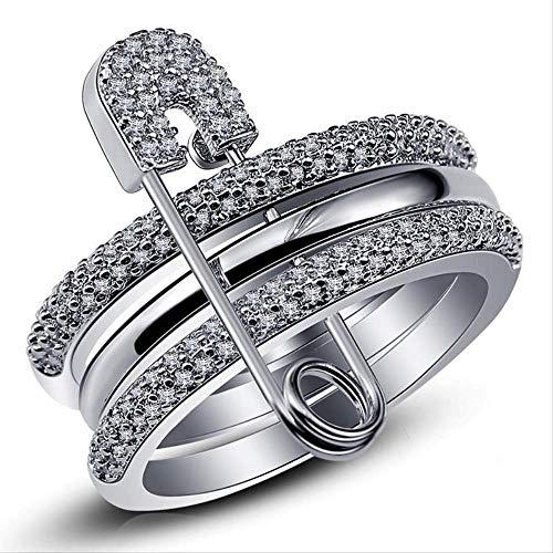 Mhsm Ring Breite Silber Finger Ringe Set Für Frauen Mit Pin Kubischen Zirkon Ring Pflaster Einstellung Weibliche Partei Zubehör 9