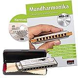 CASCHA Harmonica set débutant avec livre en allemand, apprenez à jouer de l\'harmonica blues, y compris étui, tissu et manuel, harmonica en do majeur