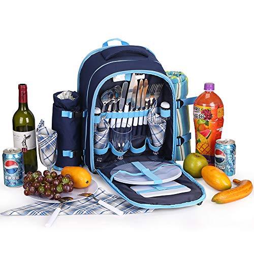 Mars Jun Picknick-Rucksack für 4 Personen - Picknicktasche mit Picknick-Decke, Besteck, Geschirr & Kühlfach für Outdoor-Barbecue, Camping, Picknick, Angeln, Wandern