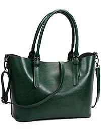 Sifini Women Handbag Stylish Pu Leather Shoulder Bag Casual Ladies Tote Bag Satchel Shopper Bag (Dark Green)