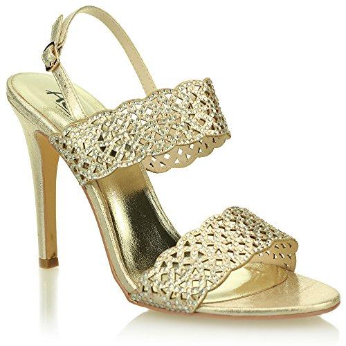 Aarz signore delle donne del partito di sera di nozze Comfort Diamante sandali tacco Formato dei pattini (Oro, Argento, Nero)