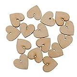 Fenteer Holz Herz Anhänger Verzierung Geschenkanhänger Namenskarte Tischdekorationen Holz Scheiben mit Loch - 100 Stück, 20mm