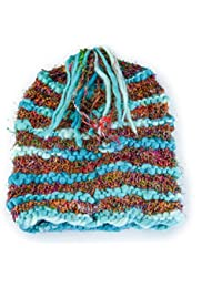 Gringo Fairtrade Knitted Silk Slouch Beanie Hat With Long Tassel Made In Nepal
