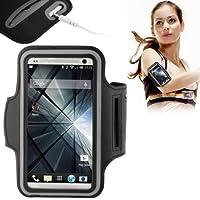Brassard tour de bras noir pour Samsung Galaxy S5 i9600 idéal pour les sportifs, course à pied ou salle de sport, pochette pour clé et trous pour écouteurs