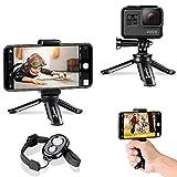 Zeadio Bluetooth mini smartphone treppiede, Action Camera treppiede portatile, da tavolo supporto treppiede per Gopro e tutti i telefoni