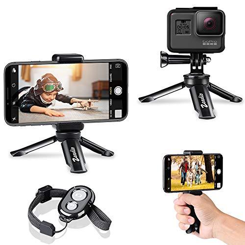 zeadio Bluetooth Mini Smartphone Stativ, Action Kamera Tragbare Stativ, Desktop Tischplatte Stand Stativ für GoPro und Alle Handys Mobile Action Bluetooth