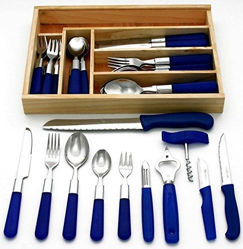 GRÄWE 37-teiliges Starter-Set 'Milano' aus 30-teiligem Menübesteck, 6 Haushaltmesser / Küchenhelfer und Schubladeneinsatz (Erste Besteck)