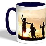 كوب سيراميك للقهوة بتصميم الطفولة الجميلة، لون ازرق