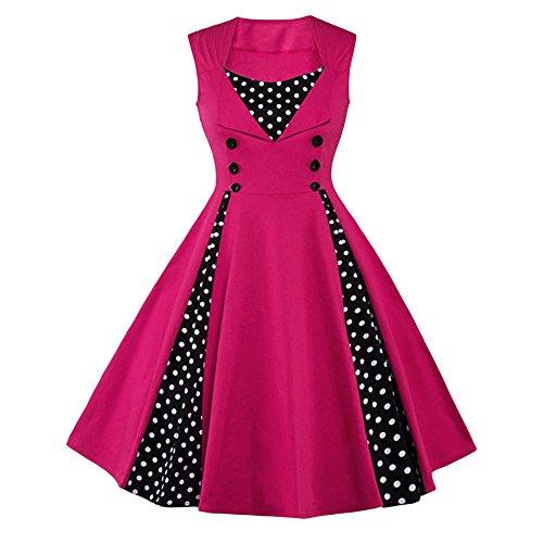 JOTHIN Damen 50s Retro Cocktailkleid ärmellose Frauen Rockabilly Kleid Swing Polka Dot Sommerkleid Große Größen Rosa