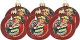 6 Stück handbemalte Weihnachtsbaumkugeln dunkelrot