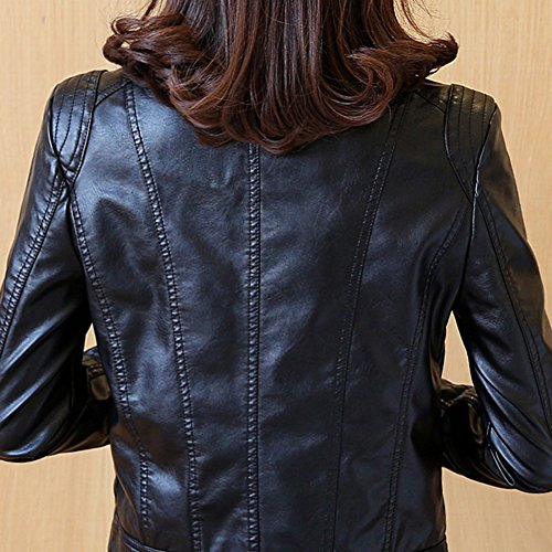 Donna Giacca da Motociclista Pelle Sintetica Manica Lunga Cappotto Biker con Cerniera Nero