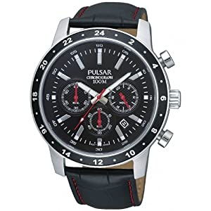 Reloj Pulsar Uhren Sport PT3163X1 de cuarzo para hombre, correa de cuero color negro (cronómetro) de Pulsar Uhren