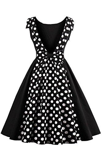 Robe de Soirée Cocktail Rétro Vintage Impression année 1950 Rockabilly Swing Grande Taille Nœud de Papillon par Babyonlinedress Noir