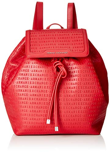 Armani Exchange Damen Denim Backpack Rucksack, Rot (Red), 31x15x49 cm
