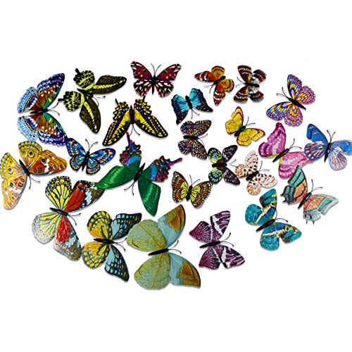 24er-Set 3D Schmetterling Leuchtend Wandtattoo Fluoreszierende Wanddekoration Aufkleber Wandsticker Wanddeko für Wohnung,Raumdekoration,Kinderzimmer,Schlafzimmer