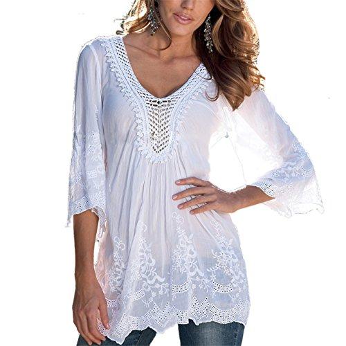 Damen Bluse ININUK Sommer Tops V Ausschnitt Oberteile Tunika Spitze Elegant Langarm Shirt Lady Bluse Komfortabel, Weiß, Gr. 38/L