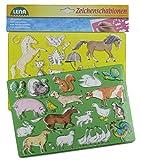 Lena 65767 - Zeichenschablonen Set Pferde, Katzen und Bauernhoftiere, mit 2 Schablonen mit Motiven und Farbvorlagen für Tiere vom Bauernhof, Malschablonen ca. 26 x 19 cm, Malset für Kinder ab 3 Jahre