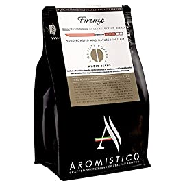 AROMISTICO COFFEE | Rich Aroma DECAFFEINATED Swiss Water Medium Roast | Premium Italian Roasted Whole COFFEE BEANS | FIRENZE BLEND | For Espresso, Moka Pot, Filter Cafetiere, Pour-Over Drip or Aeropress | FULL BODIED, LIGHTLY SPICY and COCOA-LIKE