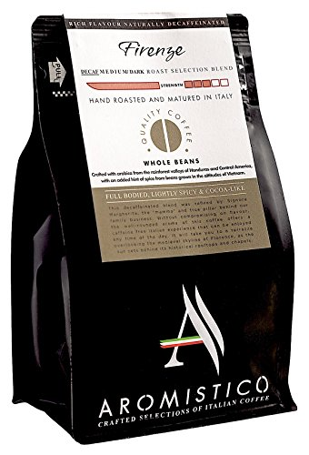 AROMISTICO COFFEE   Rich Aroma DECAFFEINATED Swiss Water Medium Roast   Premium Italian Roasted Whole COFFEE BEANS   FIRENZE BLEND   For Espresso, Moka Pot, Filter Cafetiere, Pour-Over Drip or Aeropress   FULL BODIED, LIGHTLY SPICY and COCOA-LIKE