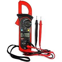 UNI-T UT201 Pinza Multímetro Amperimetrica Digital Profesional Clamp Meter AC DC para Medida Amperímetro Voltímetro Ohmímetro Automática Corriente Tensión Data Holding con LCD Retroiluminación