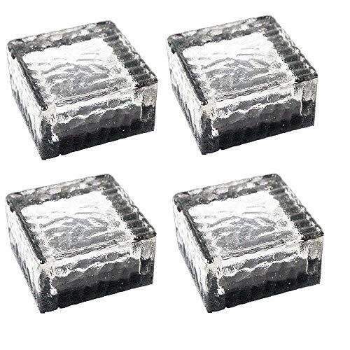 ZJRA Solar-Bodeneinbauleuchte, 4 LED Auto on/Off, Glas Ice Cube Rocks Farbe Crystal Underground Lamp Geschenk Leuchtend (4Er-Set), Weiß -