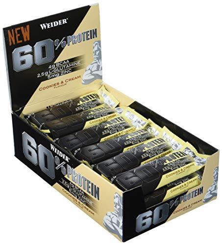 Weider 60{7b5ae53ad261aff931dbe144c6c0430665f2ff07805fee32f07122682ac86693} Protein Bar, Cookies & Cream Riegel, 24 x 45 g