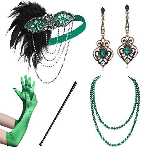 Coucoland 1920s Accessoires Set Damen Gatsby Kostüm Zubehör Set inklusive Stirnband Halskette Handschuhe Ohrringe Zigarettenhalter (Set-20)