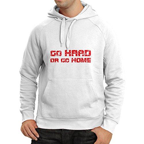Kapuzenpullover Go Hard or Go Home! - Sprechen für Motorradfahrer, für Biker, für Skater, Roller (Small Weiß Mehrfarben)