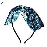 FeiyanfyQ‿Bandeau de cheveux réversible à paillettes pour filles Bleu