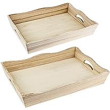 Vassoi in legno, 5,5cm x31cm x 21cm e 6,5cm x 33cm x 23cm, 2pezzi | vassoio da portata, decorazione da tavolo, gioielli, decorazione | vassoio bagagliaio per decoupage, handwerken, fai da te